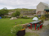 Camping Lawn in front of Mill Cottage,with the old Mill in background - Corcreggan Mill